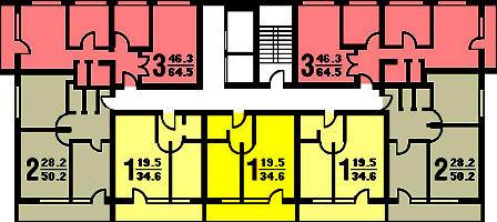 Типовой жилой дом серии ii-68-01/16 планировки квартир, фото.