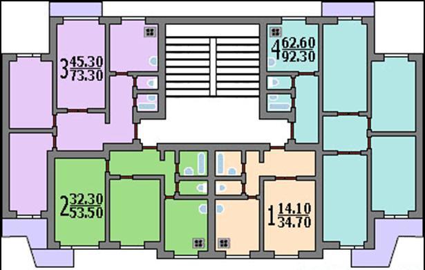 Типовой жилой дом серии п-3 планировки квартир, фото.