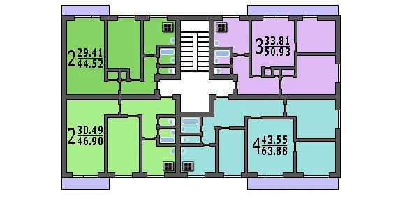 Типовой жилой дом серии 1-515/9м планировки квартир, фото.