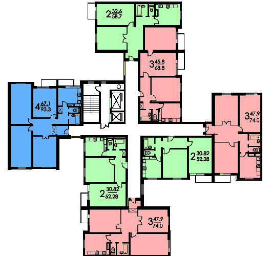 Типовой жилой дом серии п-4 планировки квартир, фото.