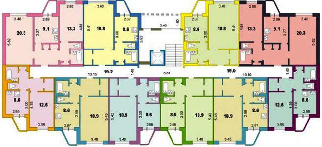 Типовой жилой дом серии 93м (111-93м) планировки квартир, фо.