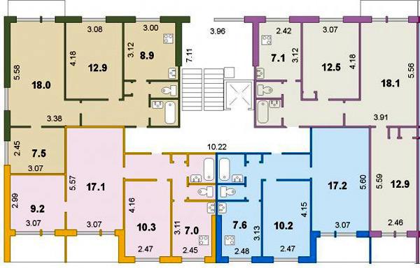 Типовой жилой дом серии i-464д планировки квартир, фото.