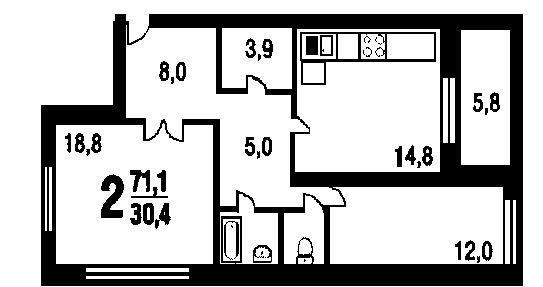 Серия п-111м. планировка 2-х комнатной квартиры.