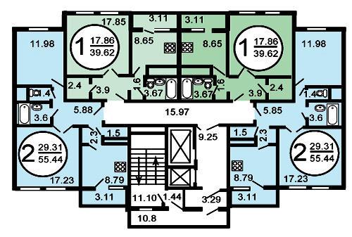 Типовой жилой дом серии гмс-1 (гмс-2001) планировки квартир,.