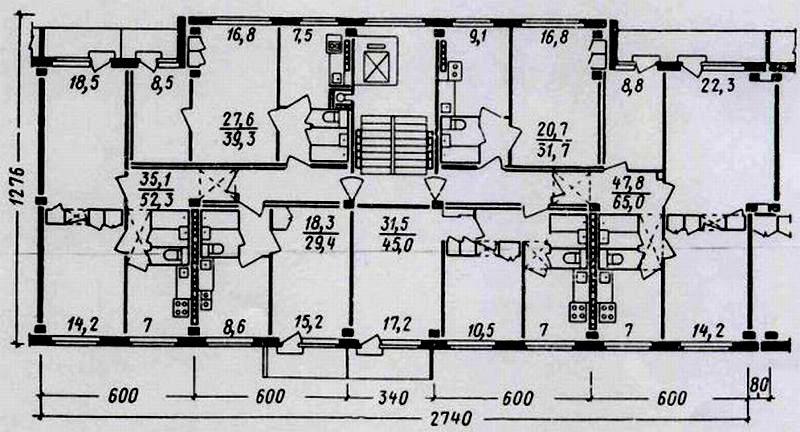 Поэтажный план трехкомнатной квартиры с двумя лоджиями в доме серии 1-мг-601.