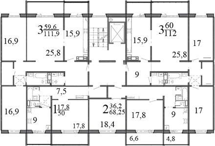 Типовой жилой дом серии 121 планировки квартир, фото.