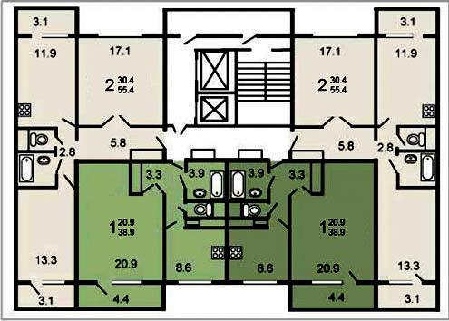 Типовой жилой дом серии п-46м планировки квартир, фото.